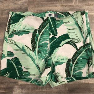 Palm leaf tropical Hawaiian shorts